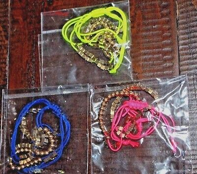 Neon Bracelet Lot 3 Total Pink Yellow Blue Beaded Friendship Corded New In Packs