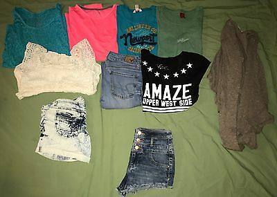 Huge Lot of 10 Junior Clothes Size X-Small 0 Name Brand American Eagle Hollister