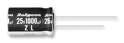 Electrolytic Capacitor, Miniature, 470 µF, 25 V, ZL Series, ± 20%, Radial Leaded