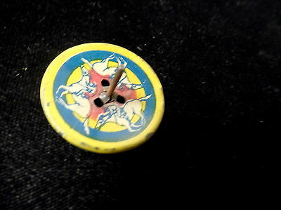 Antique Cracker Jack Tin Litho Toy, Spinning Top With Jockey & Horse