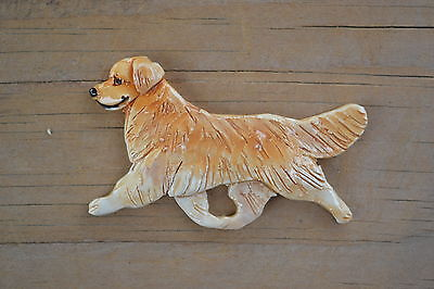 Golden Retriever.  Handsculpted ceramic brooch.  .OOAK .LOOK