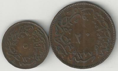 xx From Accumulation - 2 OLD COINS from TURKEY - 5 & 20 PARA (BOTH DATING 1864)