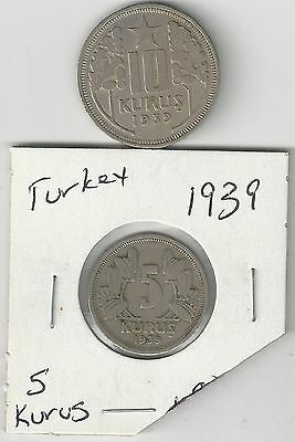 xx From Accumulation - 2 COINS from TURKEY - 5 & 10 KURUS (BOTH DATING 1939)