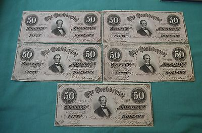 FIVE consecutively numbered Confederate States of America Fifty Dollar Banknotes
