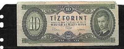 HUNGARY #168d 1969 10 FORINT VG CIRCULATED OLD BANKNOTE PAPER MONEY BILL NOTE