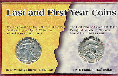 Lot (2) Silver Half Dollars **1947-D Walking Liberty & 1948 Franklin** Free Ship