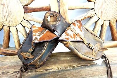 Western Vintage Horse Classic Leather Hair Trail Saddle Pack Hunting Horn Bags