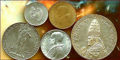 5 Italy-Vatican Coins  High Grade Uncirculated Lot   Low Buy Price $12.00