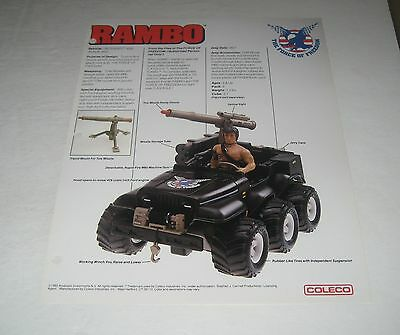 Coleco 1985 Rambo  Toy Fair Catalog Sales Sheet Defender 6 x 6 Assault Jeep