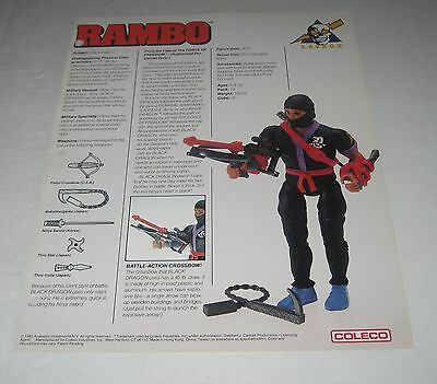 Coleco 1985 Rambo  Toy Fair Catalog Sales Sheet Black Dragon Figure