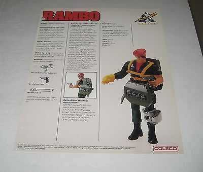 Coleco 1985 Rambo  Toy Fair Catalog Sales Sheet Gripper Figure