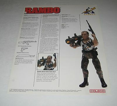 Coleco 1985 Rambo  Toy Fair Catalog Sales Sheet  Sergeant Havoc Figure Rare