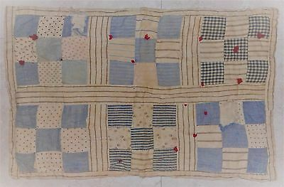 """ANTIQUE DOLL QUILT HAND MADE 17"""" x 11"""" VINTAGE PATCHWORK BLANKET COVER"""