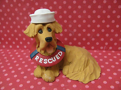"Handsculpted Golden Retriever ""RESCUED"" Figurine"