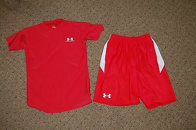 Boy's UNDER ARMOUR RED WHITE 2 PC Short Outfit S/L Shorts SMALL Shirt L SET