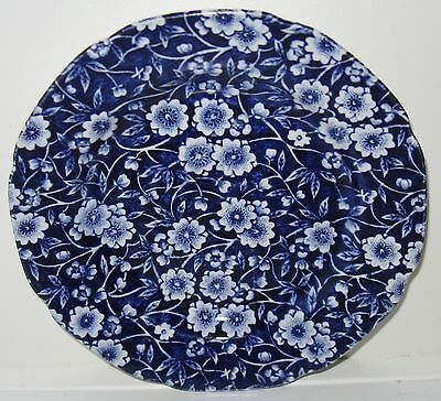 Crownford Staffordshire Calico Blue Dinner Plates Set of 2 Crazing on Underside