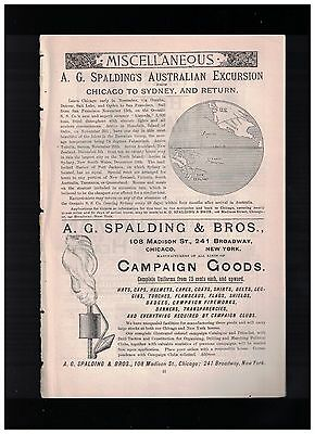 Very Rare 1888 Campaign Goods 1/2 Page Ad From A. G. Spalding