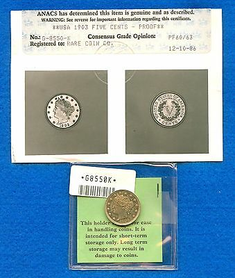 """1903 Liberty """"v"""" Nickel Old Certificate Certification Anacs Pf 60/63 Proof Unc"""