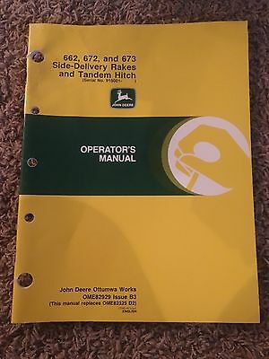 John Deere Operator's Manual for 662, 672 & 673 Side-Delivery Rakes