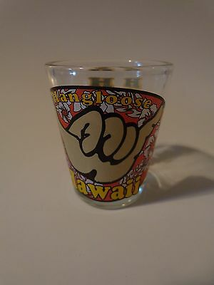 Liquor Shot Glass ~*~ Hang Loose HAWAII ~*~ Hand, Fist, Hibiscus Flowers ~ COOL!