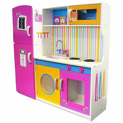 Big Wooden Kitchen With Fridge New Girls Role-Play Toy Boxed
