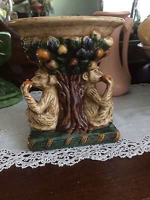 Monkey Pair Coconut Fruit Tree Vase Majolica Sculpted Pottery Unique