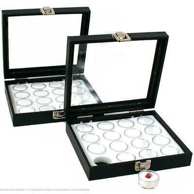 32 Gem Jars White Display Tray Glass Lid Travel Case