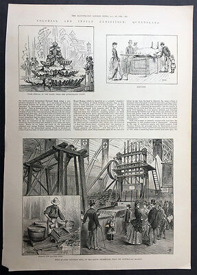 1886 ILN Old, Antique Print Gold Quart Crushing Machine in Exhibition
