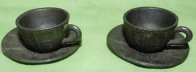 Pair of Miniature Cups & Saucers.Heavy,Lead/Pewter ? Vintage