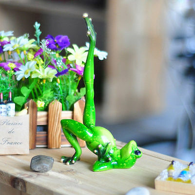 "Novelty Cute Frog Figurines--""Yoga Green Resin Frog"" Desk Decor Sculpture 07"