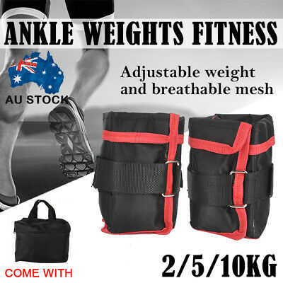 2x 1/2.5/5KG Adjustable Wrist Ankle Weights Fitness Training Strap Exercise Gym