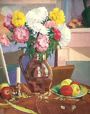 Mid 20Th Century French Post-Impressionist Still Life Flowers In Vase & Apples