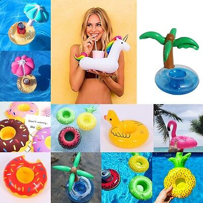 Inflatable Float Mini Water Bottle Cup Beer Holder Drink Beverage Pool Party toy