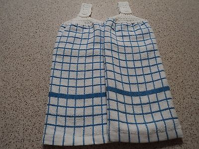 2 THICK Hand Towels, Blue & White, Double sided, Crochet Tops (130)