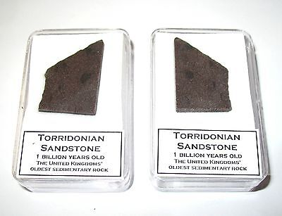 Torridonian sandstone oldest sedimentary rock in Great Britain display case 1byr