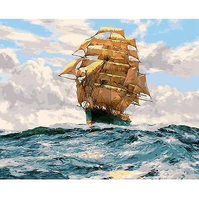 16X20'' Sailing Ship Acrylic DIY Painting Paint By Numbers Kits Digital No Frame