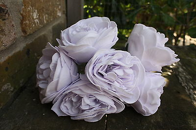 6 x VERY PALE LAVENDER LILAC COLOURFAST FOAM  PEONY ROSES 9cm