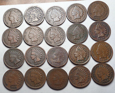 20 Indian Head Cent,all Pre1900,1860-1898!!!