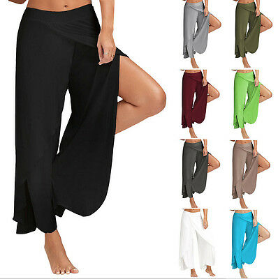 New Fashion Womens Split Wide Leg Pants Summer Elastic Loose Long Pants Trousers