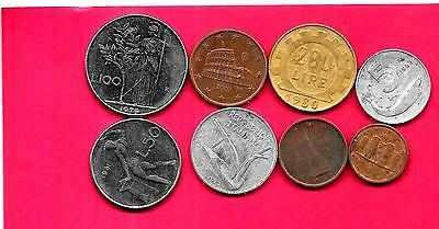 Italy Italian 8 Diff Different 1953-2004 Used Coin Lot Collection Set Inc Old