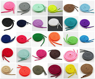 4mm ROUND SHOE LACES 70cm - 180cm *34 COLOURS & 8 LENGTHS* TRAINERS REPLACEMENT