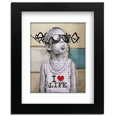 Banksy I Love Life Boy - Street Art - professionally Framed art print with mount