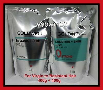 GOLDWELL STRUCTURE + SHINE Strong virgin to resistant hair straightener perm set
