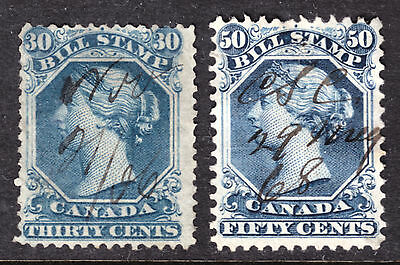 CANADA REVENUE #FB29,32b BLUE, 1865 SECOND BILL ISSUE LOT/2, VG-F, USED