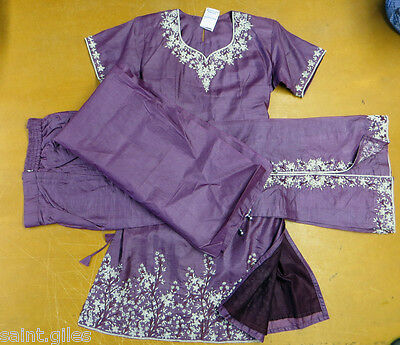 Ladies Asian Wedding Suit( Dress,trousers And Shawl) Mauve/purple Silver Sequin