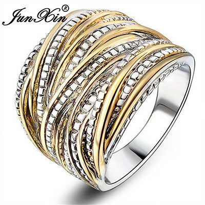 JUNXIN 18k Gold Plated Vintage Interwined Two Tone Antique Design Fashion Rings