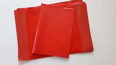 3 x Extra Strong Heavy duty RED A4 SCHOOL EXERCISE BOOK COVERS 298mm x 425mm