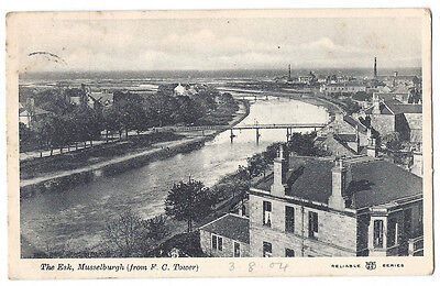 MUSSELBURGH The Esk & Town from Free Church Tower, Old Postcard Posted 1904