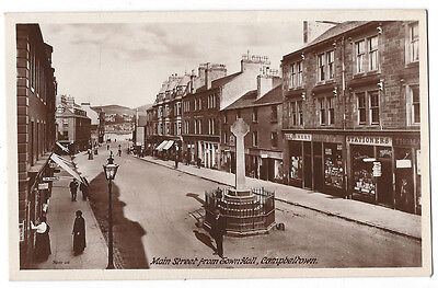 CAMPBELTOWN Main Street from Town Hall, RP Postcard by Ralston, Unused