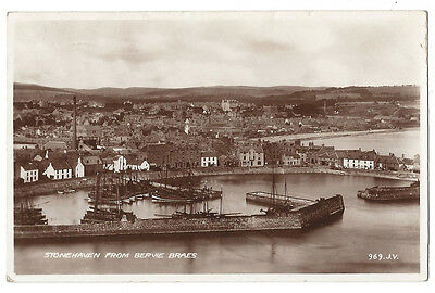 STONEHAVEN from Bervie Braes, RP Postcard by Valentine, Posted 1937